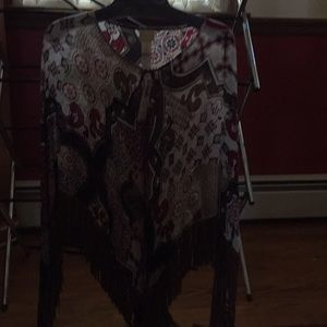 Chico new poncho with fringe 100 percent rayon